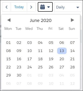 Gantt calendar with June 13, 2020 selected.