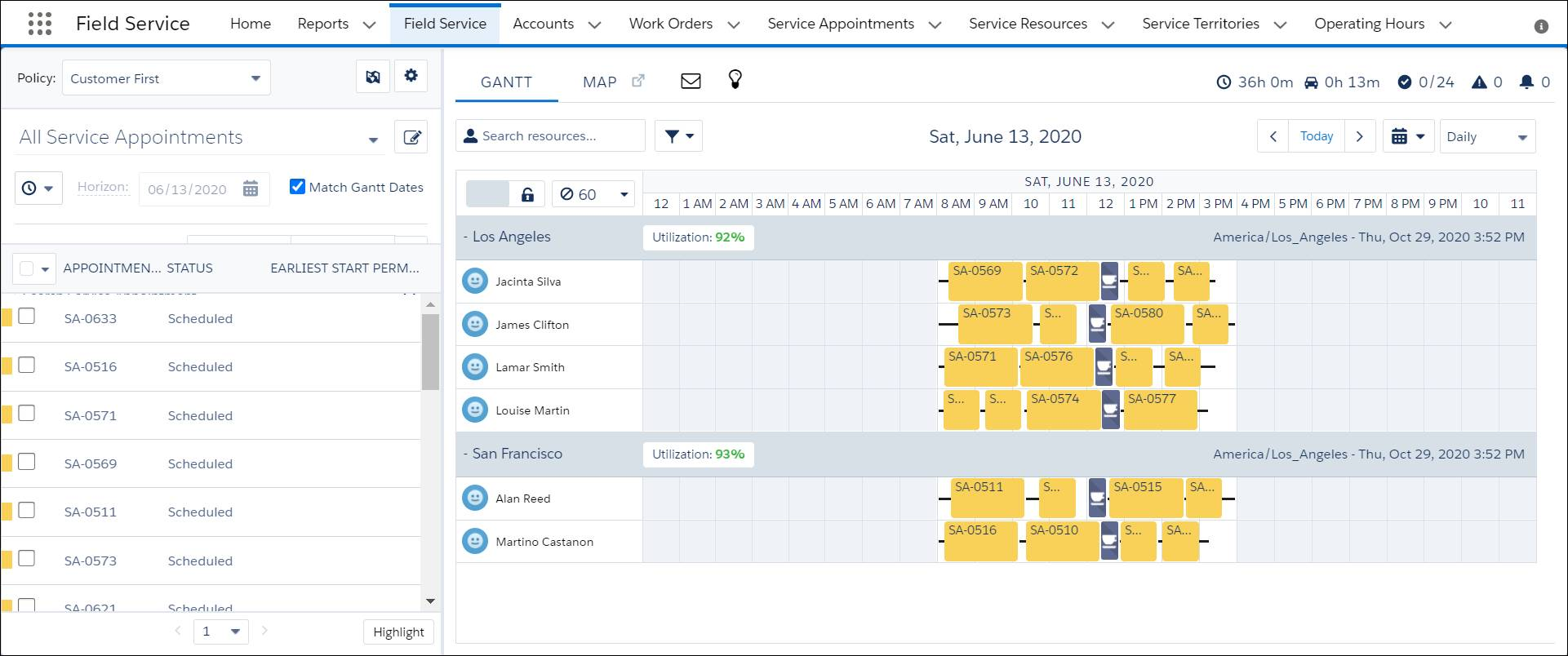 Maria's dispatcher console showing several service appointments, mobile workers, and a detailed schedule in the Gantt.