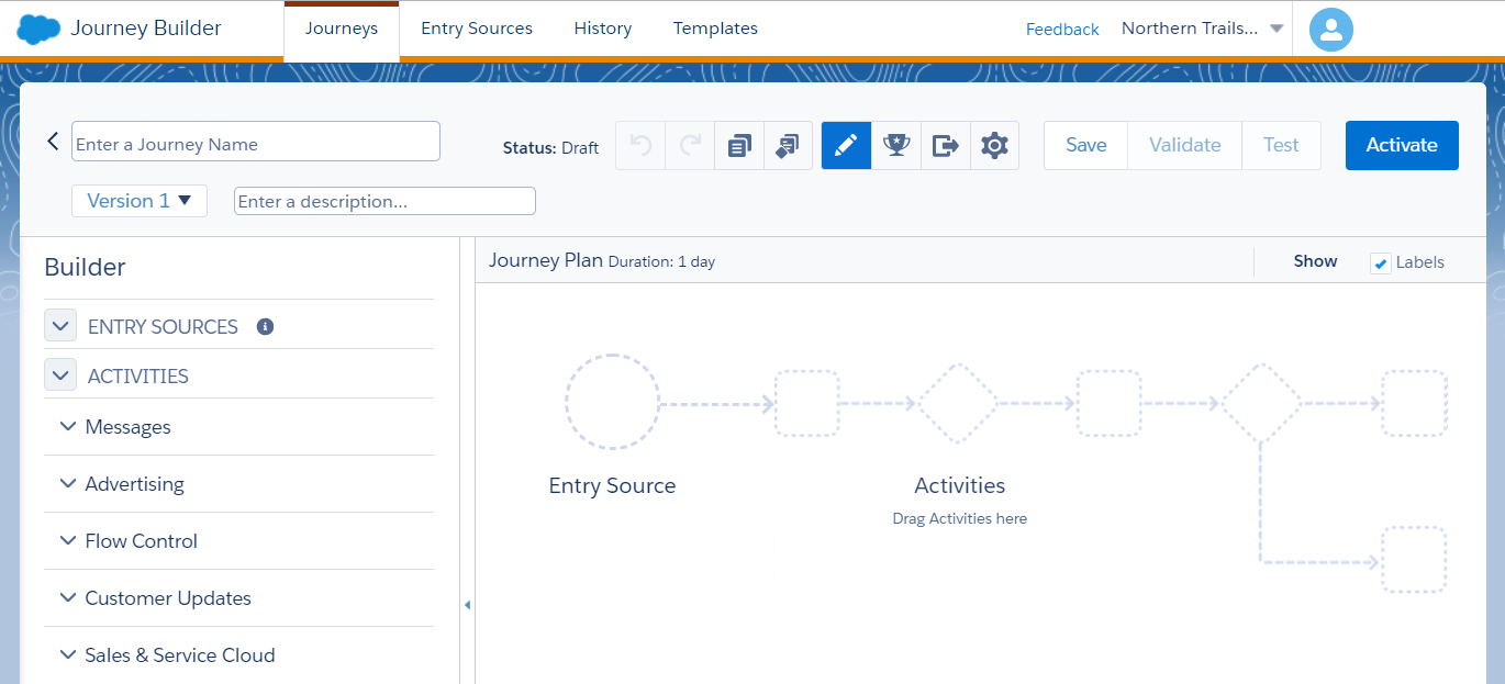 A blank journey canvas in Marketing Cloud Journey Builder