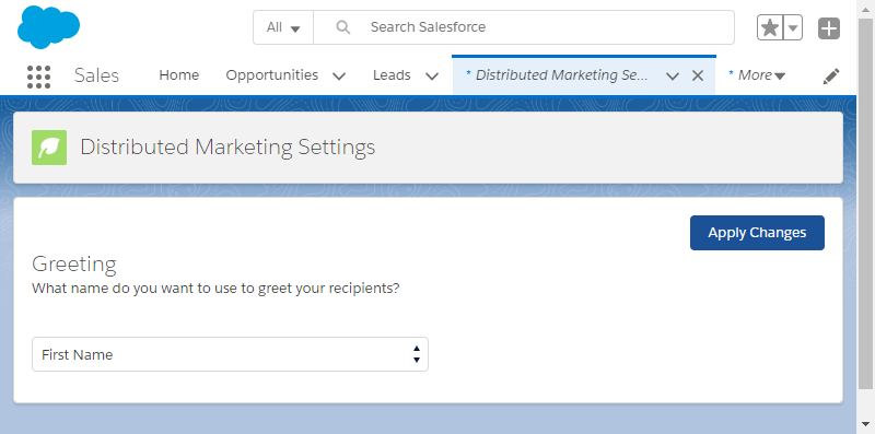 Distributed Marketing Settings app interface