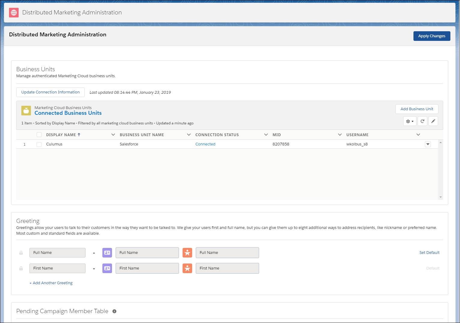 The Distributed Marketing Administration app interface