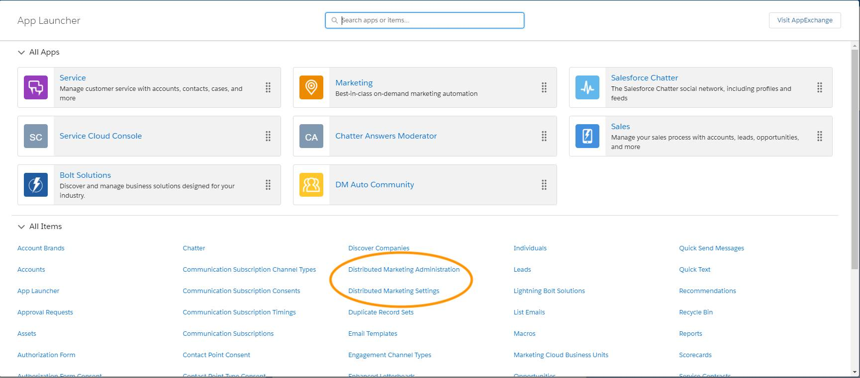 The App Launcher with Distributed Marketing Administration and Distributed Marketing Settings highlighted.