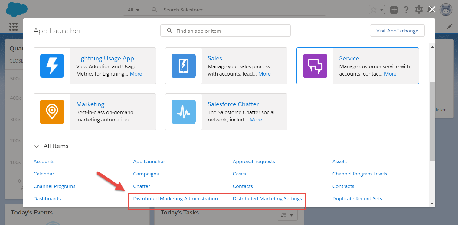 App launcher menu with links to Distributed Marketing Administration and Distributed Marketing Settings apps highlighted
