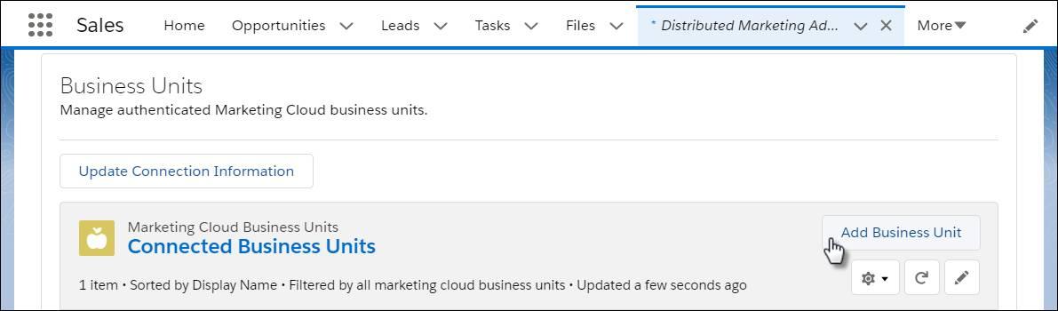 [Distributed Marketing の管理] のインターフェース。マウスが [ビジネスユニットを追加] ボタンをクリックしています。