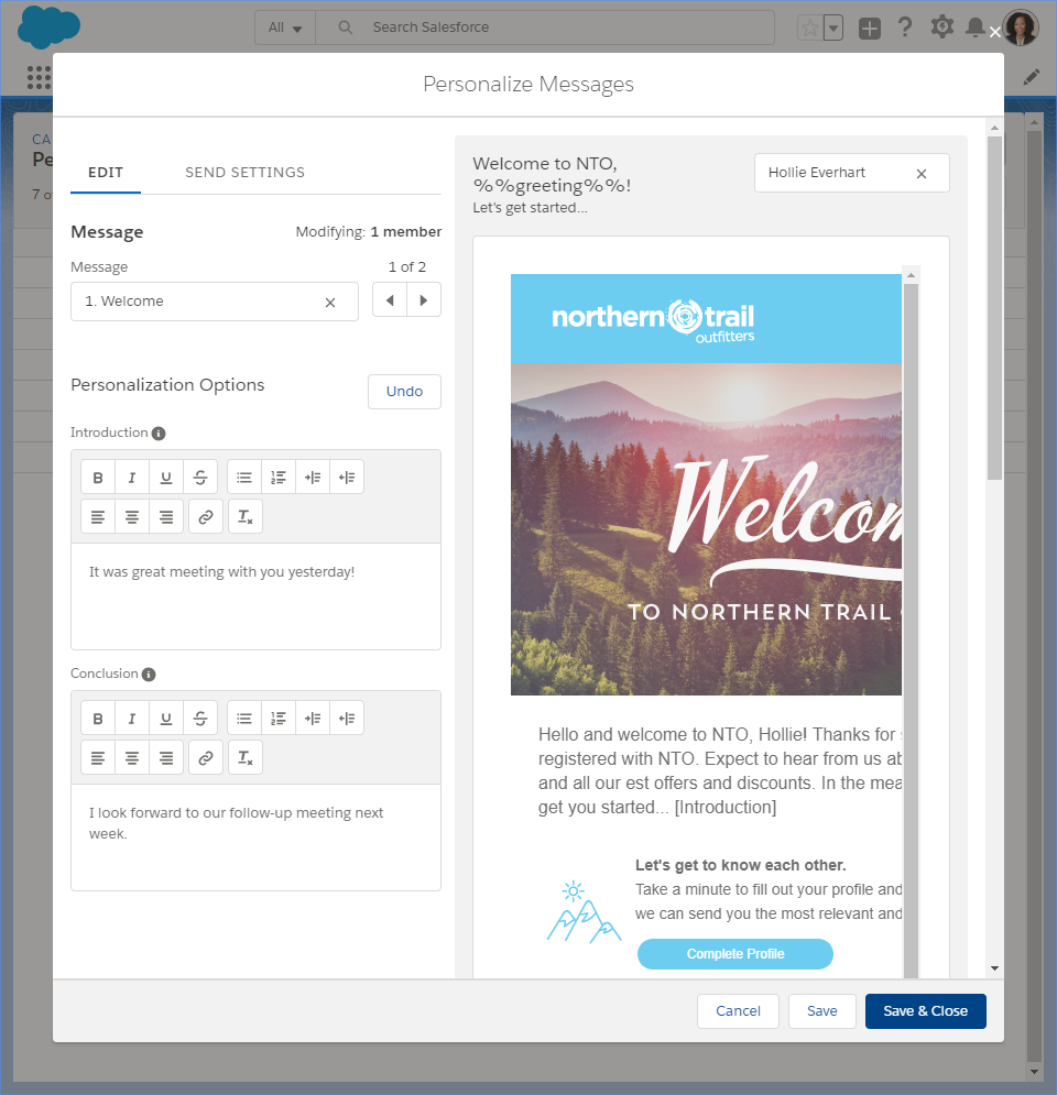 The Personalize Messages modal showing the tools available to personalize the messaging to the customer.