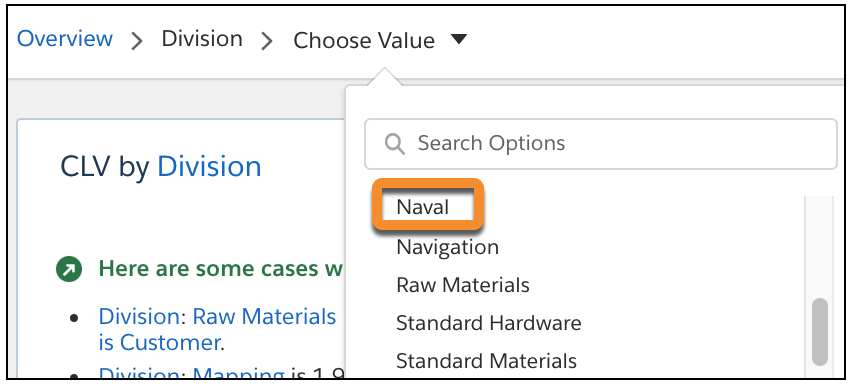 In the Search story insights drop-down list, select Division - Naval.