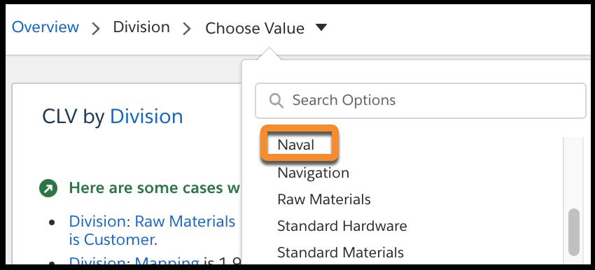 [Search story insights (ストーリーインサイトの検索)] ドロップダウンリストで [Division - Naval (ディビジョン - 海軍)] を選択します。