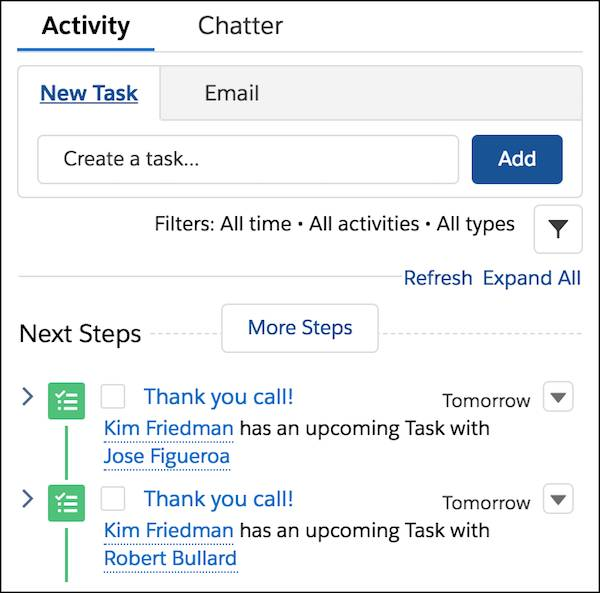 The Next Steps in the Tasks list