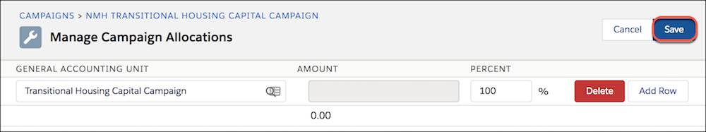 Manage Campaign Allocations, highlighting Save