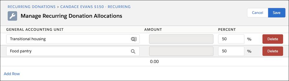 The Manage Recurring Donation Allocations form