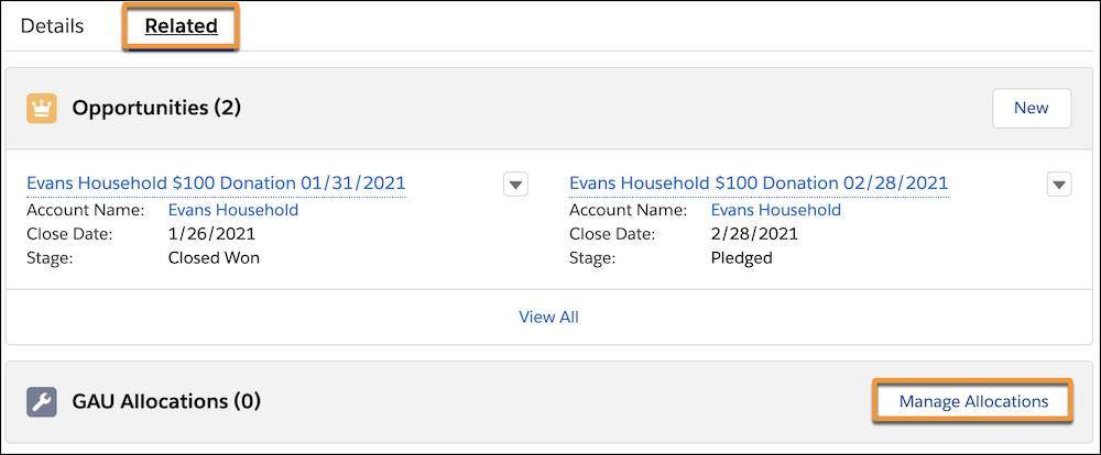 A Recurring Donation record's Related tab and the Manage Allocations button highlighted