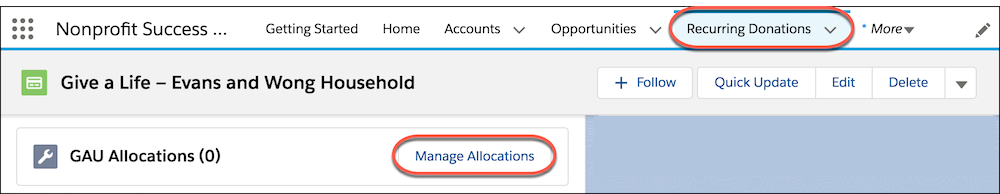 Recurring Donations tab and Related GAU Allocations, highlighting Manage Allocations