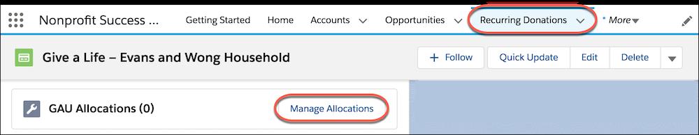 L'onglet Dons réguliers et les allocations UCG associées, avec le bouton Gérer des allocations mis en évidence