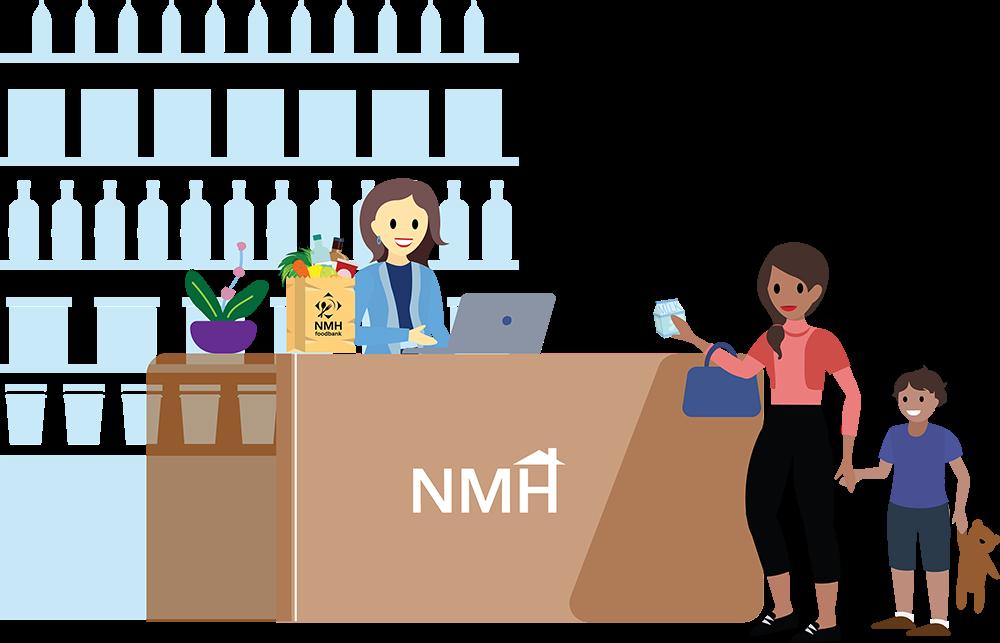 Image d'une jeune femme et de son enfant au comptoir de la banque alimentaire de NMH.