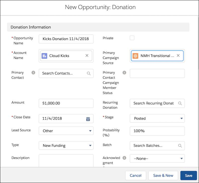 New Opportunity: Donation form, including Opportunity Name, Account Name, Primary Contact, Amount, and other fields