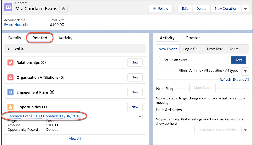 "Themenliste ""Kontaktdatensatz"" mit markierten Opportunities"