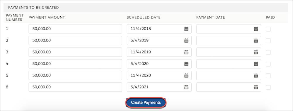 A list of 6 editable scheduled payments.