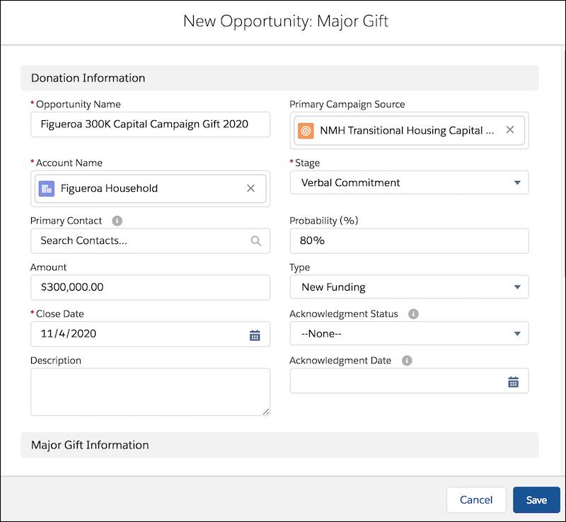 New Donation detail, including Opportunity Name, Close Date, Stage, and other fields