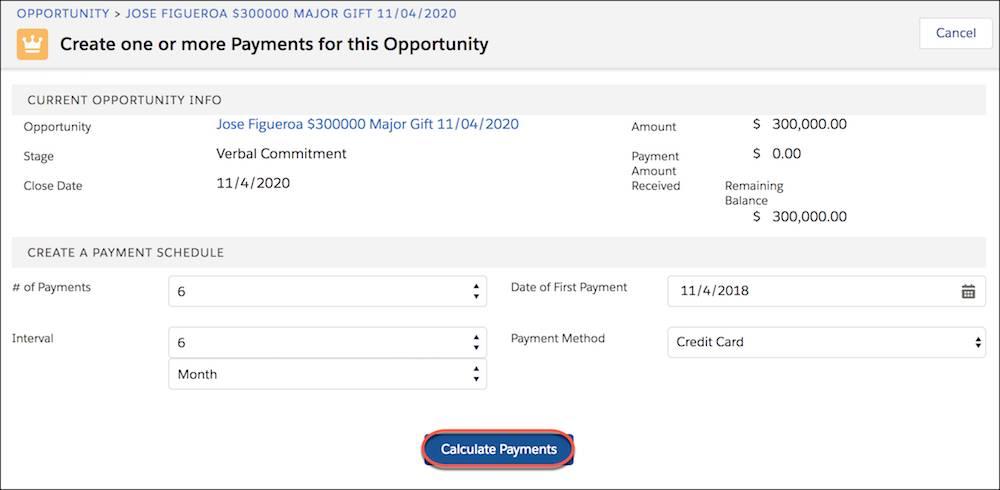Informations sur l'opportunité et calendrier de paiement, avec le bouton Calculer des paiements mis en évidence
