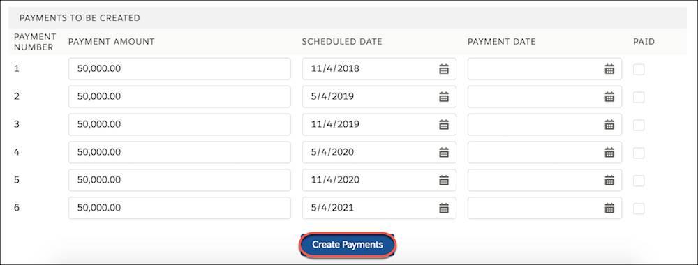 6 回の編集可能なスケジュール済み支払のリスト。