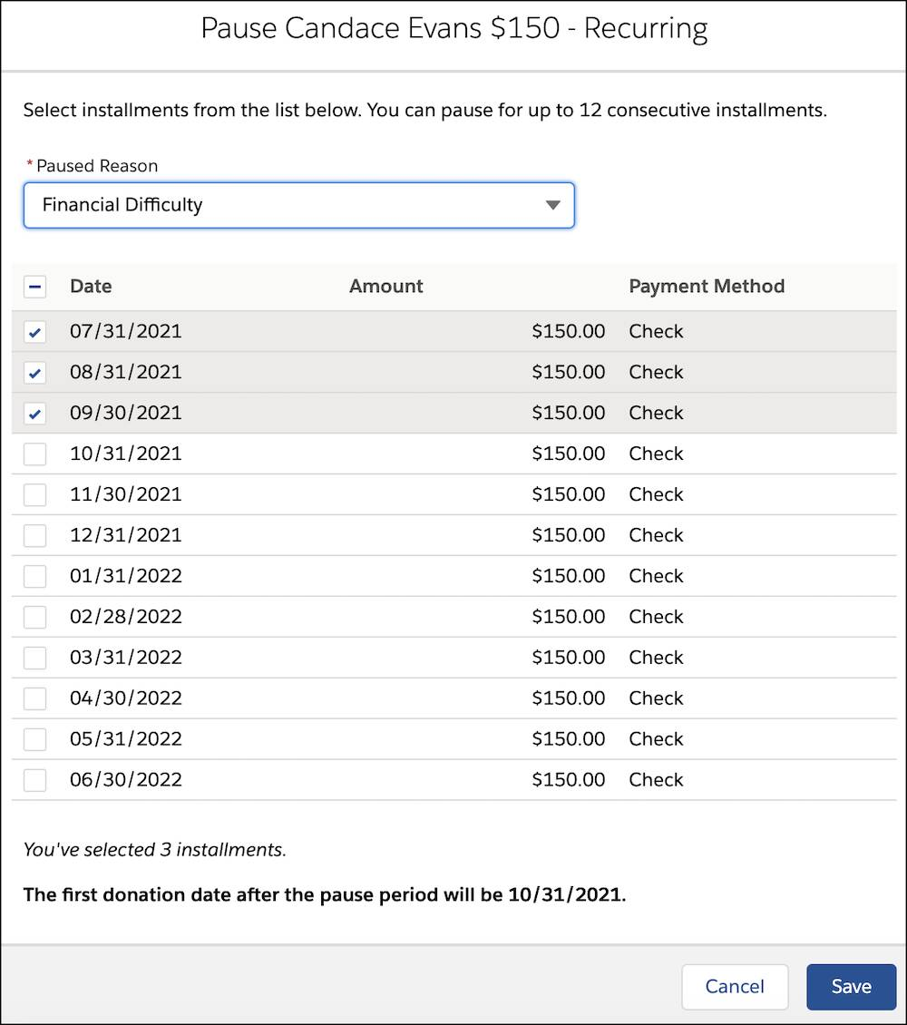 The Pause interface with three months selected and Financial Difficulty listed as the Paused Reason