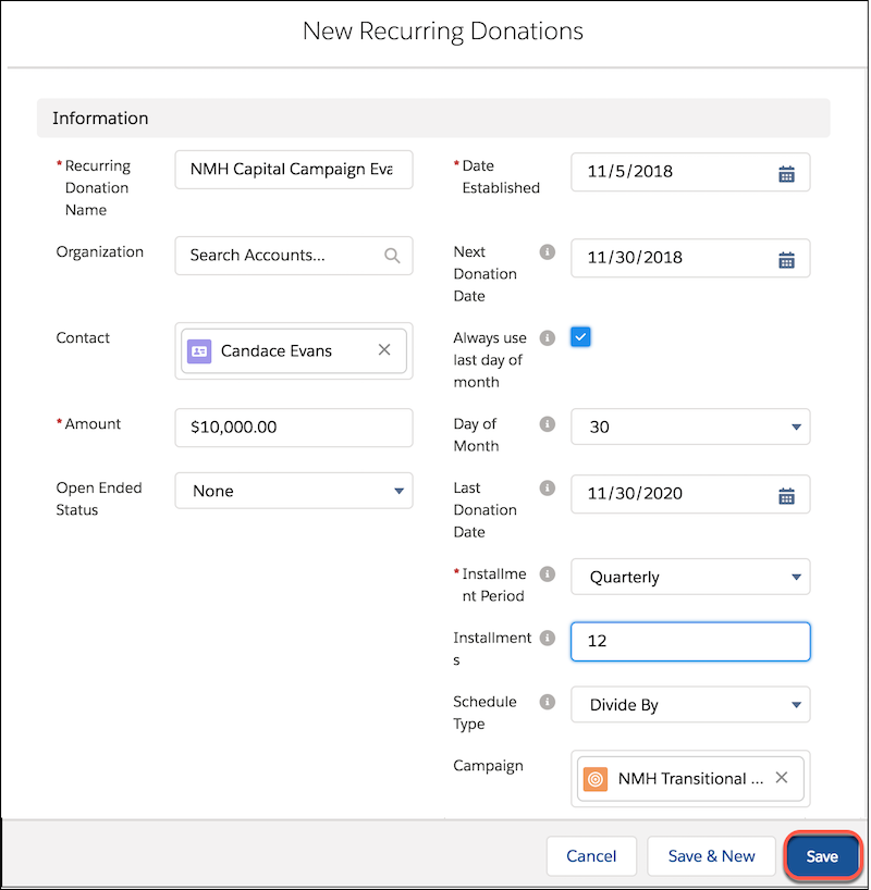 The New Recurring Donations form, including and Name, Amount, Installment Period, and other fields