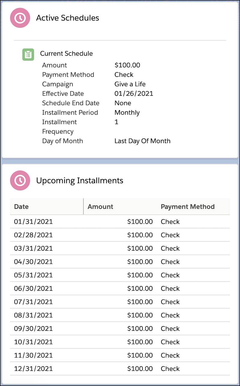 Current Recurring Donation Active Schedule and 12 Upcoming Installments