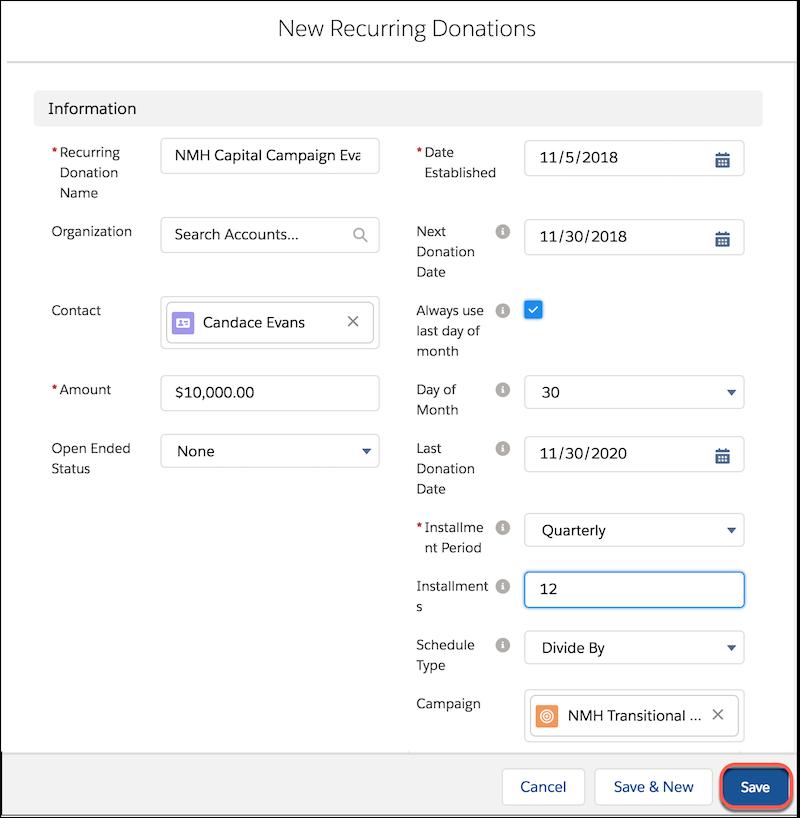 """Formular """"Neue wiederkehrende Spenden"""" einschließlich """"Name"""", """"Betrag"""", """"Ratenlaufzeit"""" und anderer Felder"""