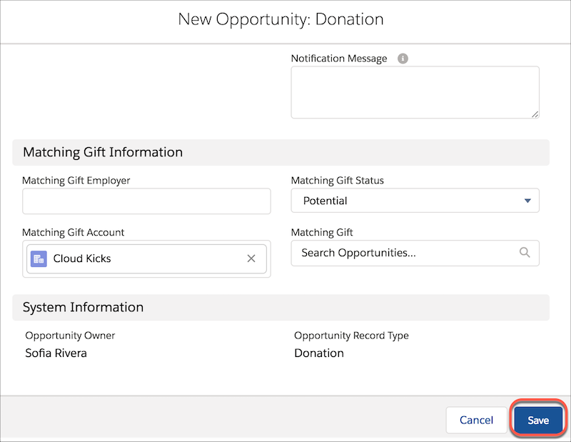 New Opportunity: Donation form, showing Matching Gift information and highlighting Save