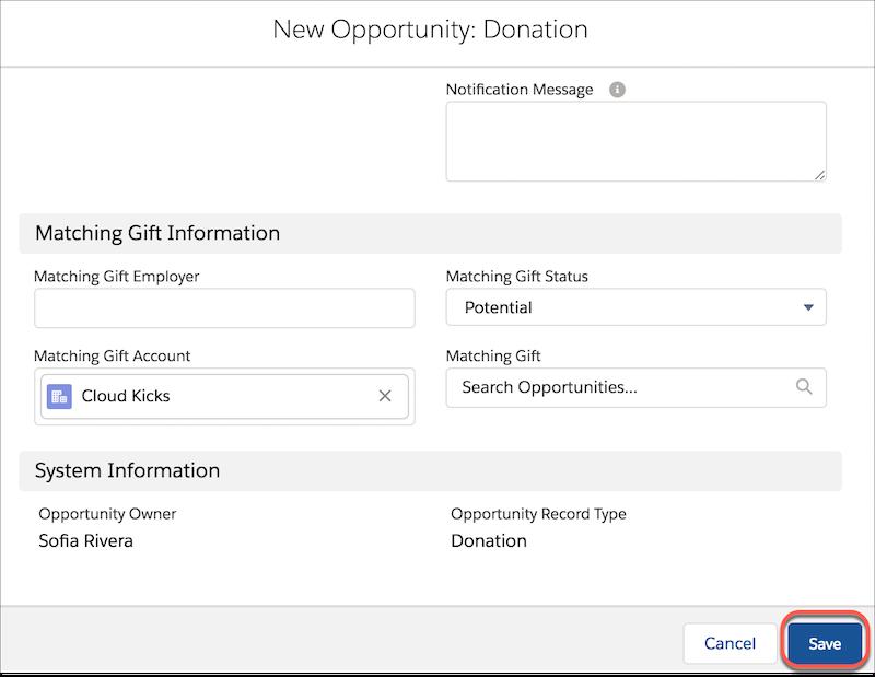Neue Opportunity: Spendenformular mit Informationen zu 'übereinstimmende Schenkung' und Hervorhebung von 'Speichern'