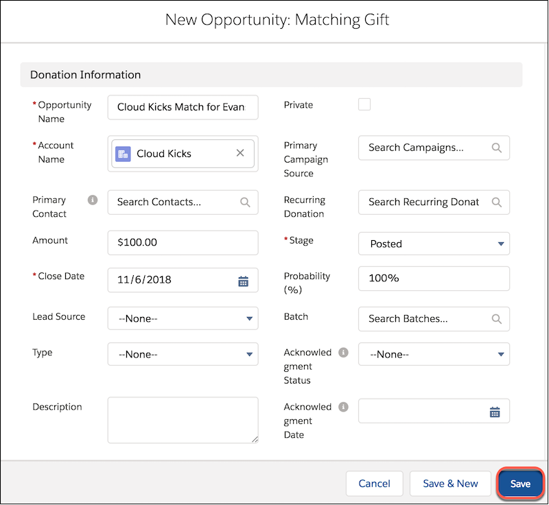 Formular 'Neue Opportunity'