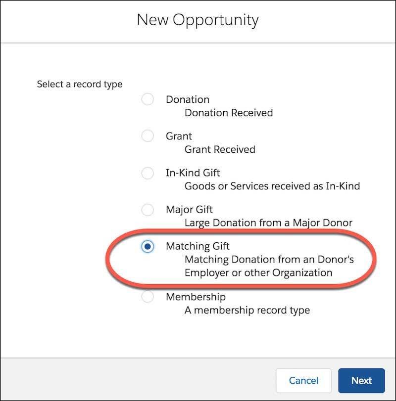 Formular 'Neue Opportunity' mit Optionen für Datensatztyp