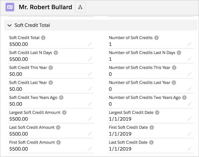 The Contact Record, including the Soft Credit fields rolling up into the total