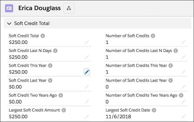 取引先責任者レコードのソフトクレジット積み上げ集計合計