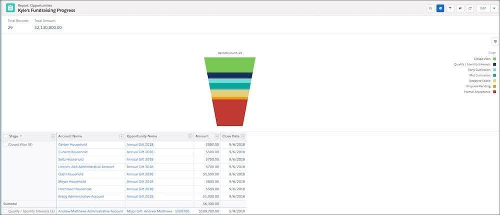 年次支援ディレクターの寄付募集の進行状況を示す Salesforce レポート