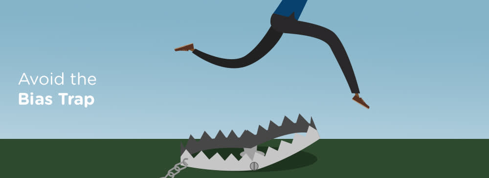 A cartoon human body leaps over the open maw of a steel trap. Text reads: Avoid the Bias Trap