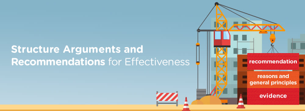 """[Cartoon of a construction crane in front of a new building holding three containers labeled """"recommendation,"""" """"reasons and general principles,"""" and """"evidence."""" Additional text reads: Structure Arguments and Recommendations for Effectiveness."""