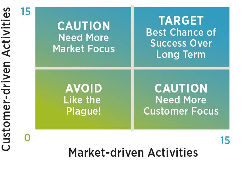 Matrix of Success, where Customer-driven Activities are scored on the y axis, and Market-driven Activities are scored on the x axis.
