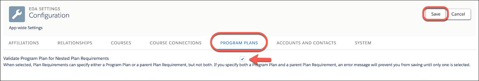 The checkbox to Validate Program Plan for Nested Plan Requirements.
