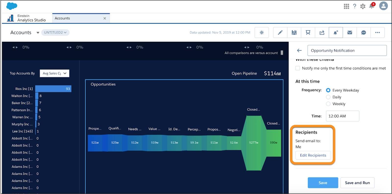 Analytics Studio の右上隅にあるベルアイコンがクリックされると開くフォームで、[受信者] セクションが強調表示されています。[受信者] セクションには [メール受信者を編集] ボタンがあります。