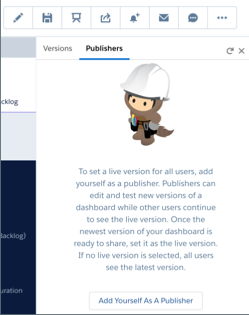 A modal with two tabs: Versions and Publishers. The publishers tab is open. It has a button that says, Add Yourself as a Publisher