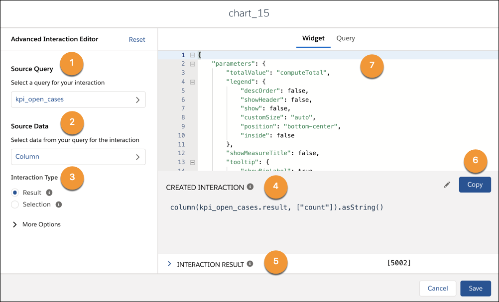 The Advanced Interaction Editor modal. To the left you can select the source query, the source data and the interaction type. To the right you can view and edit the JSON and Query information, the created interaction, and the interaction result.