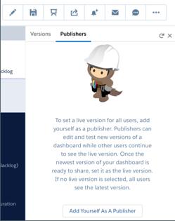 [バージョン] と [公開者] の 2 つのタブがあるモーダル。[公開者] タブが開いています。[公開者として自分自身を追加] ボタンがあります。