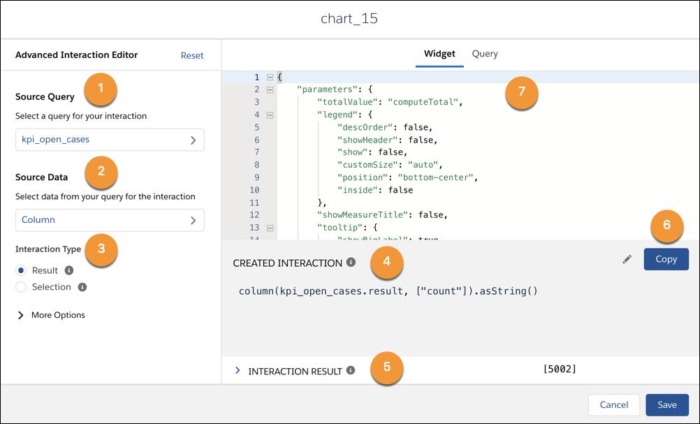[高度なインタラクションエディタ] モーダル。左側では、ソースクエリ、ソースデータ、インタラクション種別を選択できます。右側では、JSON とクエリの情報、作成されたインタラクション、インタラクション結果の表示と編集ができます。