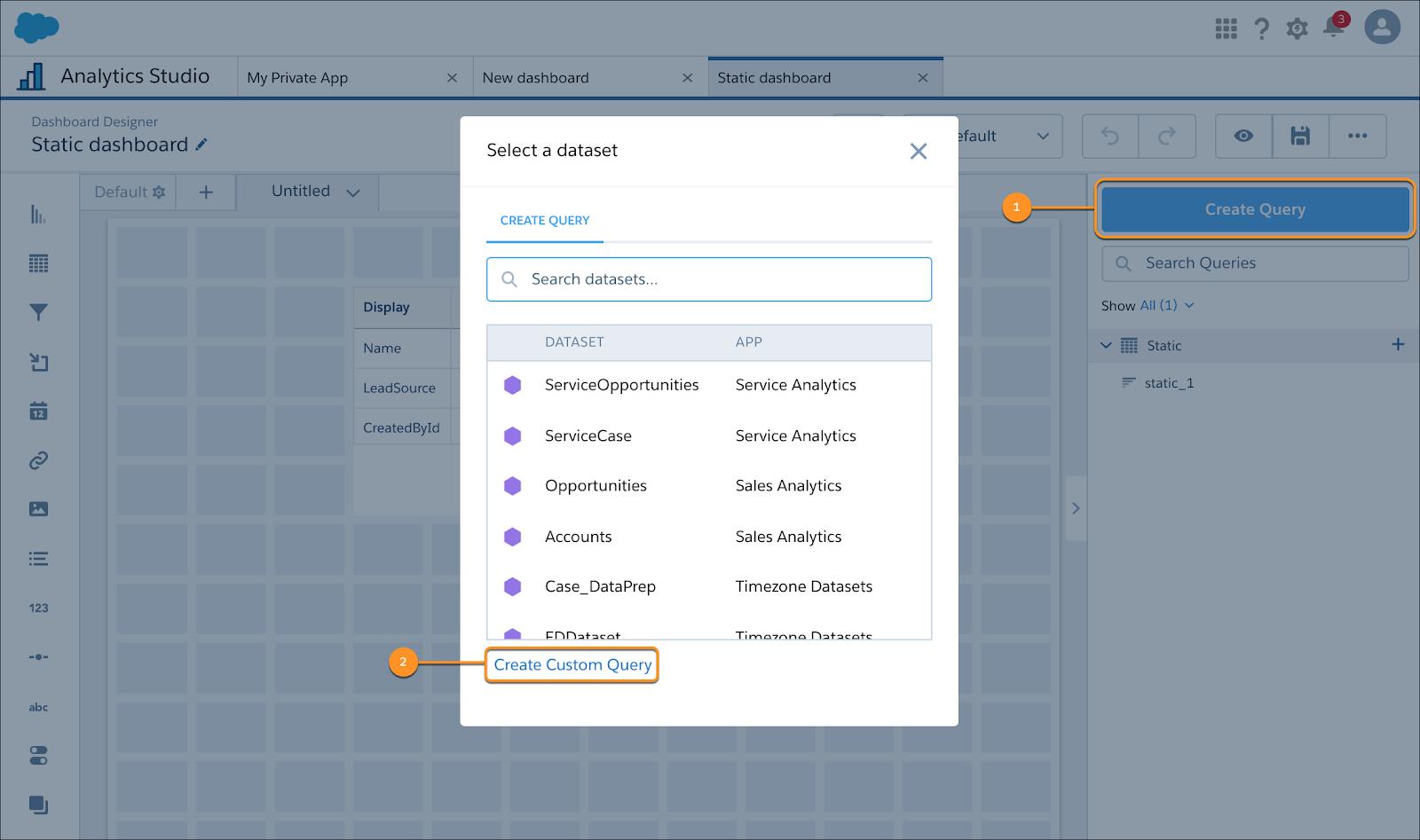 Analytics Studio で [Select a datasheet (データシートを選択)] パネルが開き、[Create a Custom Query (カスタムクエリを作成)] と [クエリを作成] が強調表示されています。