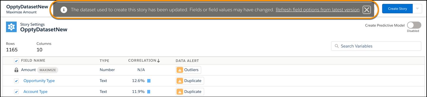 ソースデータが更新された通知とストーリーを更新するオプションが表示されています。