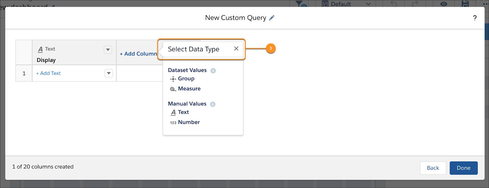 [新規カスタムクエリ] パネルの [データ型を選択] が強調表示されています。