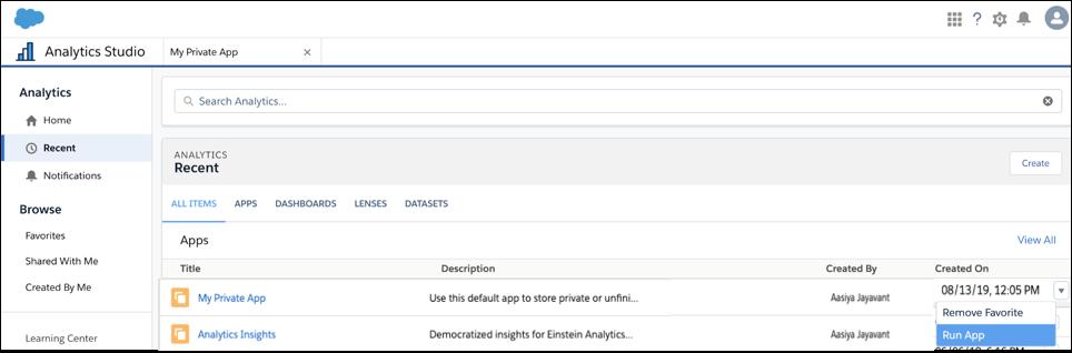 [私の非公開アプリケーション] レコードのドロップダウンオプション [アプリケーションを実行] が強調表示されています。