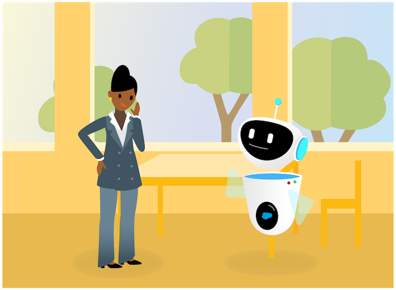 Sita and an AI Bot greeting each other with a wave.