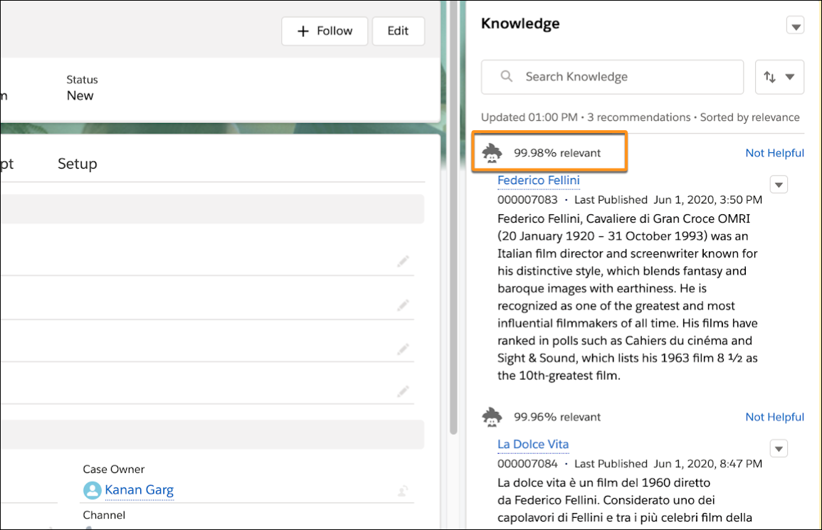 A case record showing the Knowledge sidebar where Einstein Article Recommendations appear.